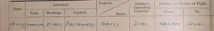pilots log book entry of Mr K.P. Murray of Sligo who commenced pilot training at Weston