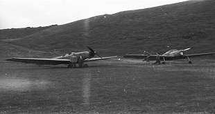 1950s aircraft the swallow and a miles messenger at Rosses Point Sligo