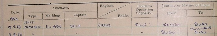 pilots log book entry from 1953