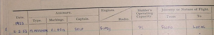 pilots kp murry log book entry from 1953