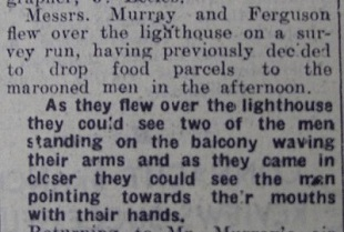 paper clipping from 1956 about rescue of three men from the blackrock light house in Sligo Bay
